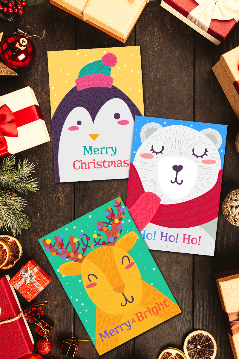 """Ilustrace """"Christmas Greeting Cards With Animals Set"""" #90699"""