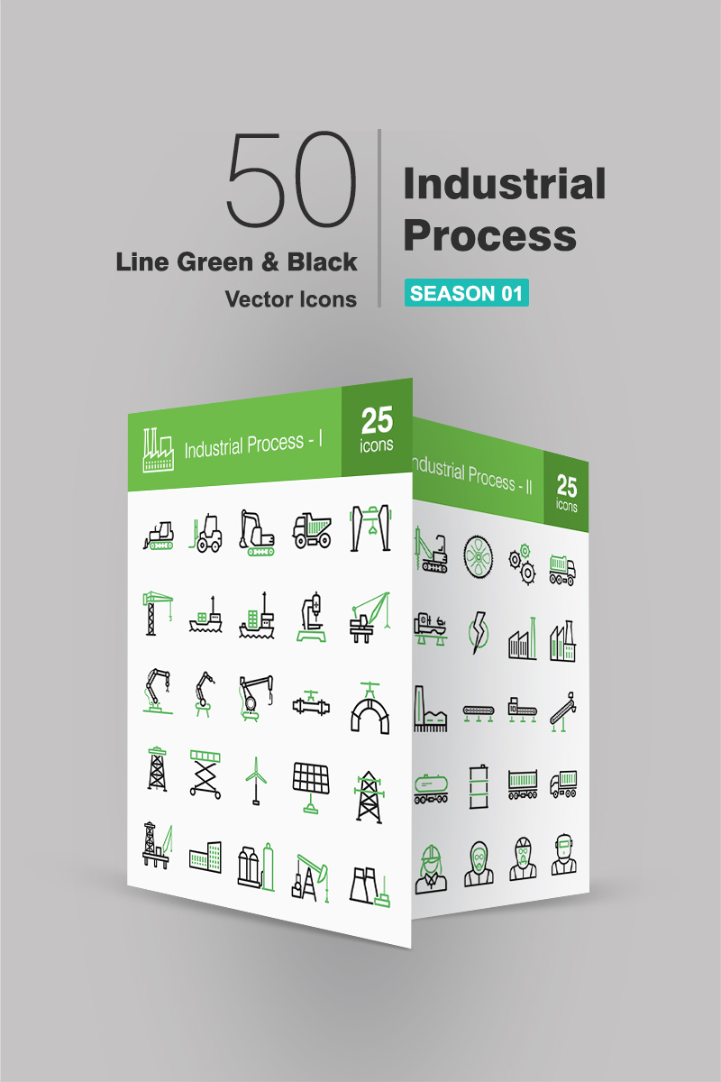 50 Industrial Process Line Green & Black Iconset-mall #90656