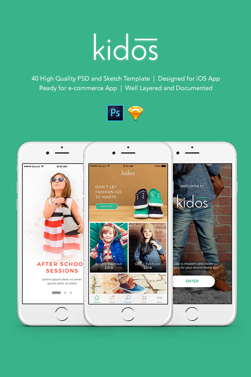 """Kidos - Kids Clothing iOS UI Kit and Sketch"" modèle PSD  #90653"