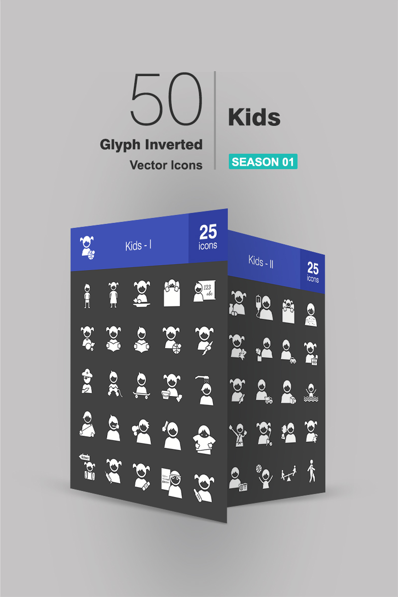 50 Kids Glyph Inverted №90659