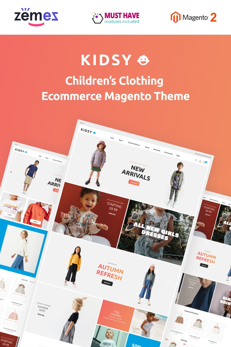 """Kidsy - Children`s Clothing Ecommerce"" - адаптивний Magento шаблон №90677"