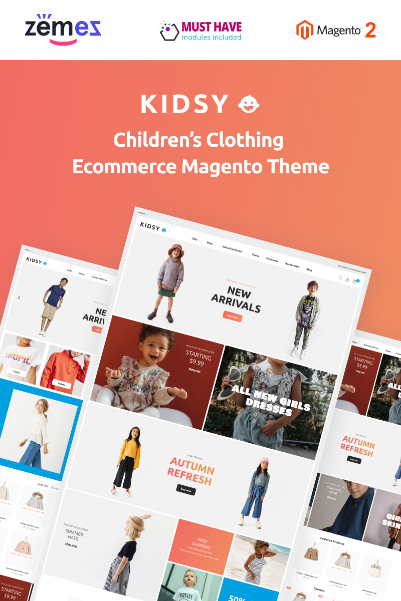 """Kidsy - Children`s Clothing Ecommerce"" Responsive Magento Thema №90677"