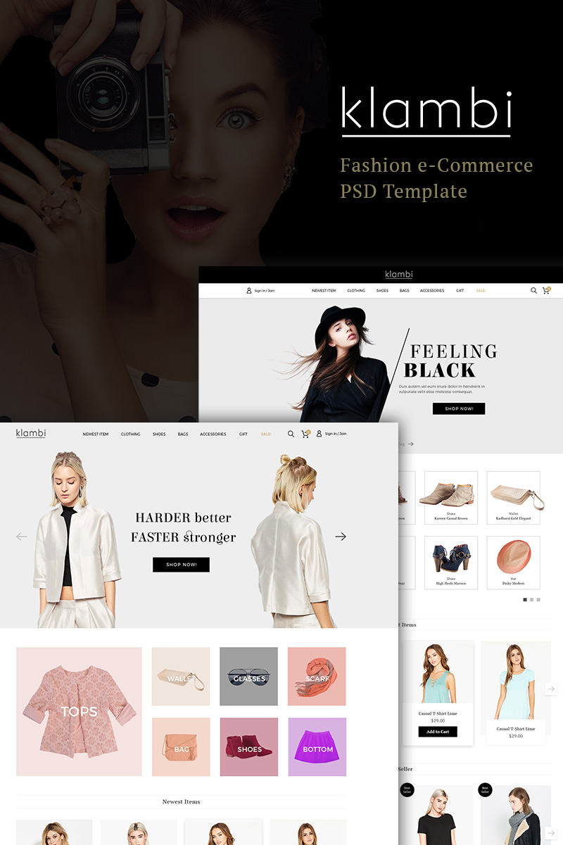"""Klambi e-Commerce Fashion"" modèle PSD  #90644"