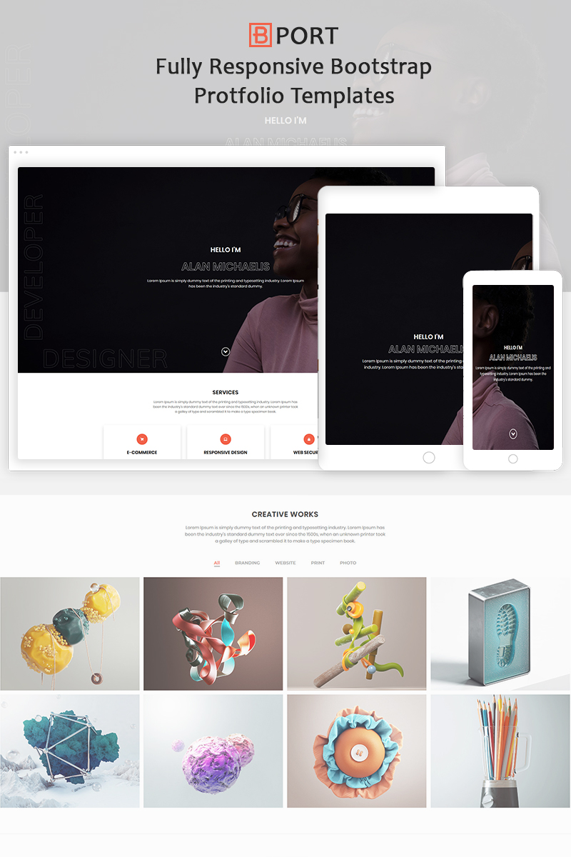 "Landing Page Template namens ""Bport - Responsive Portfolio Boostrap4"" #90670"