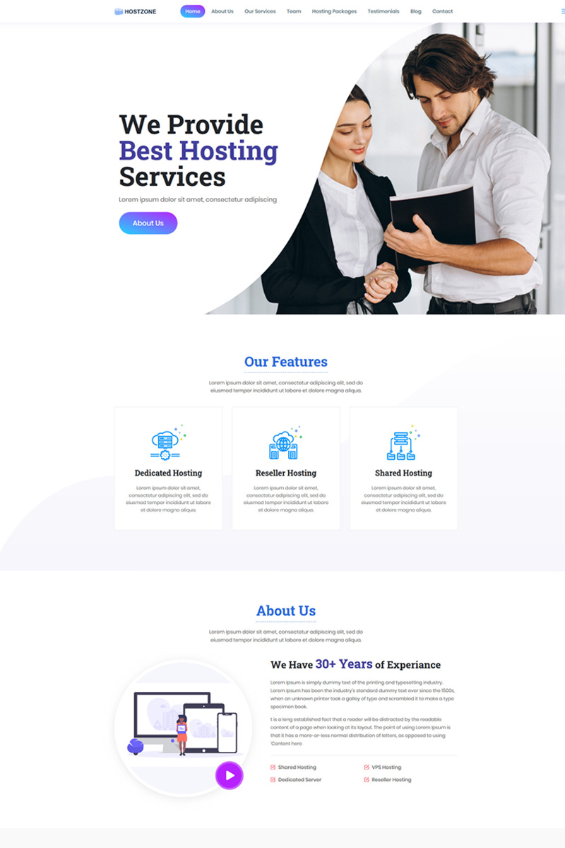 "Landing Page Template namens ""Hostzone -"" #90684 - Screenshot"