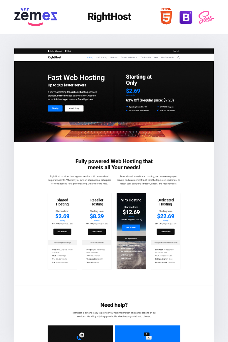 "Landing Page Template namens ""Lintense Hosting - Creative HTML"" #90624"