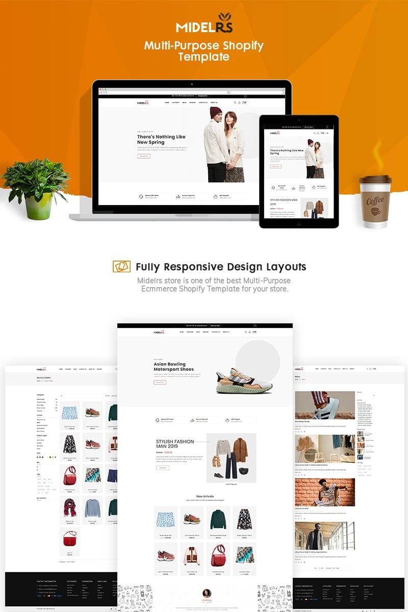 """Midelrs - Fashion eCommerce"" Bootstrap Shopify Thema №90627"