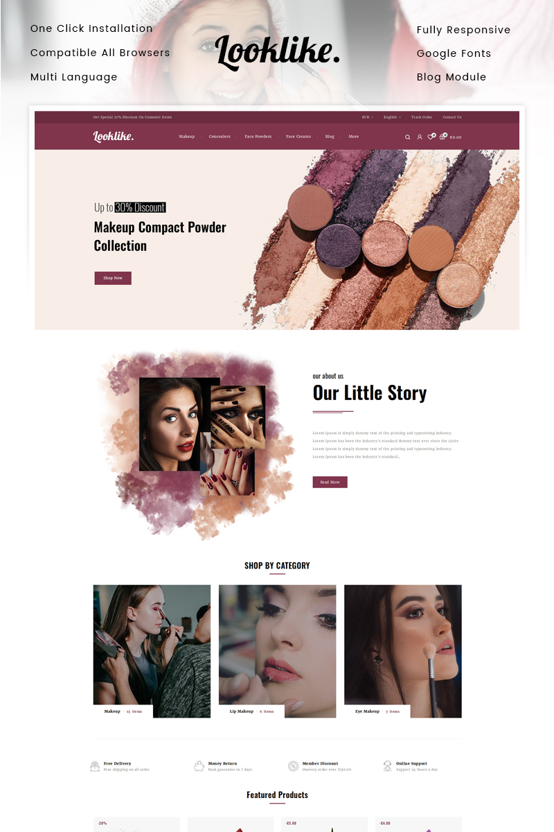 "Modello PrestaShop Responsive #90629 ""Looklike - Cosmetic Store"""