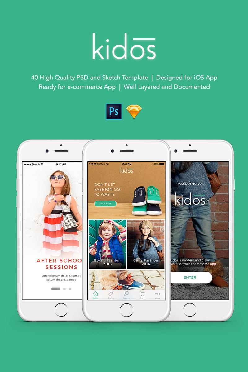 "Modello PSD #90653 ""Kidos - Kids Clothing iOS UI Kit and Sketch"""