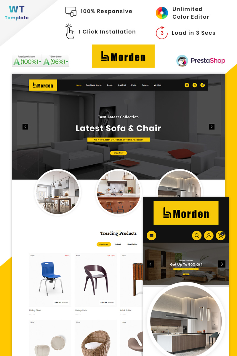 """Morden - Furniture Stylish Store"" thème PrestaShop adaptatif #90636"
