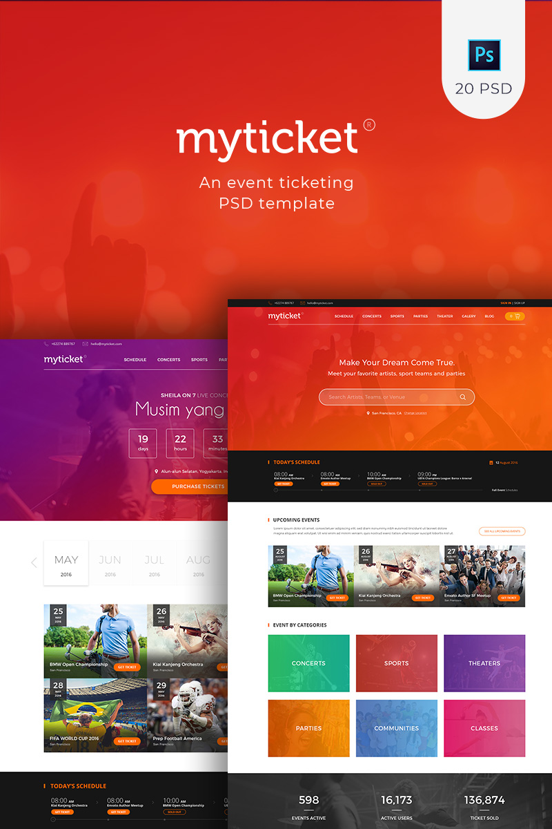 """MyTicket - an Event Ticketing"" PSD Template №90642"