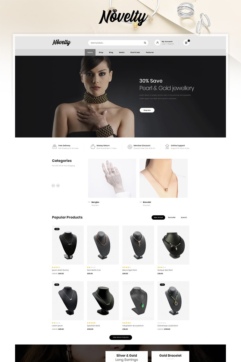 """Novelty - Jewelry Store"" thème WooCommerce adaptatif #90641"