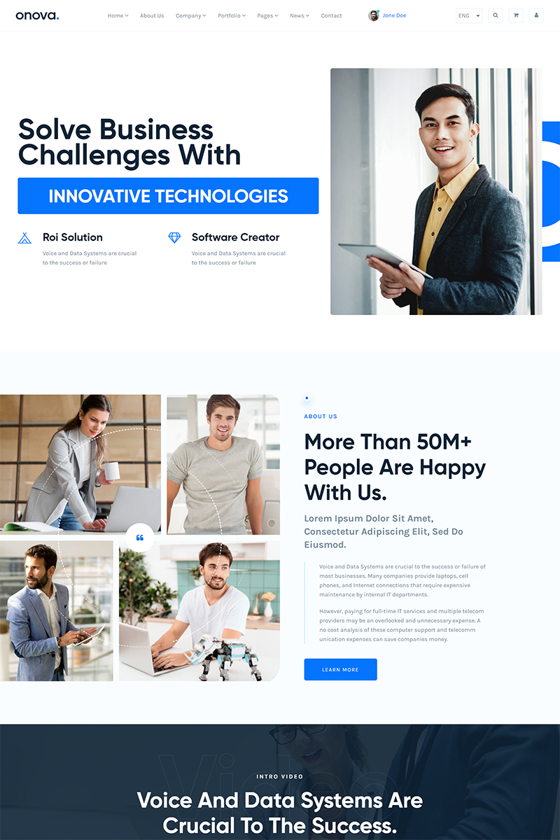 """Onova - IT Solutions and Services Company React js"" Responsive Website template №90647 - screenshot"