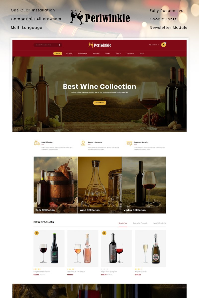 """PeriWinkle - Wine Store"" Responsive OpenCart Template №90637"