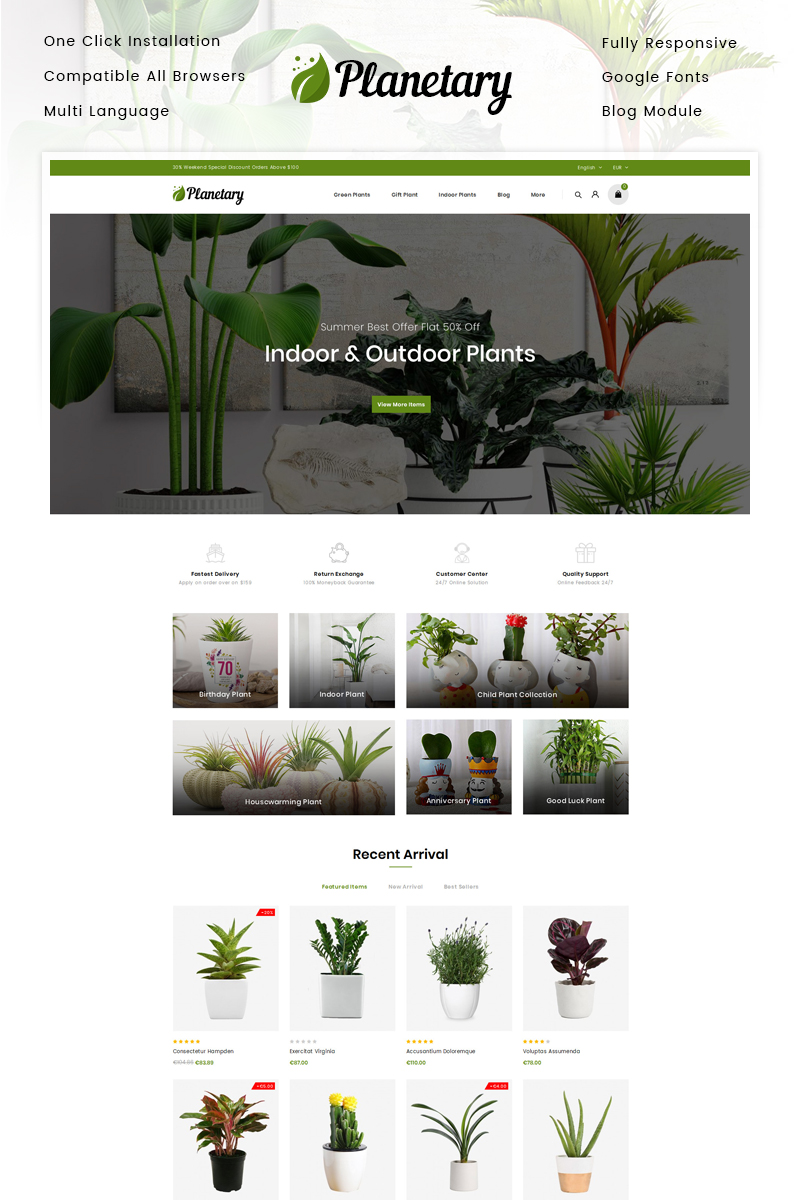 """Planetary - Plants Store"" - адаптивний PrestaShop шаблон №90652"