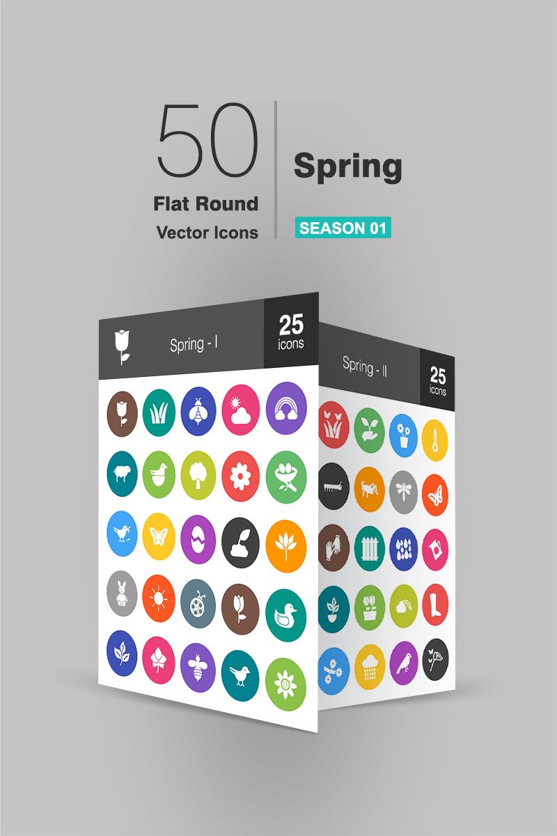 """Plantilla De Conjunto De Iconos """"50 Spring Flat Round"""" #90662"""