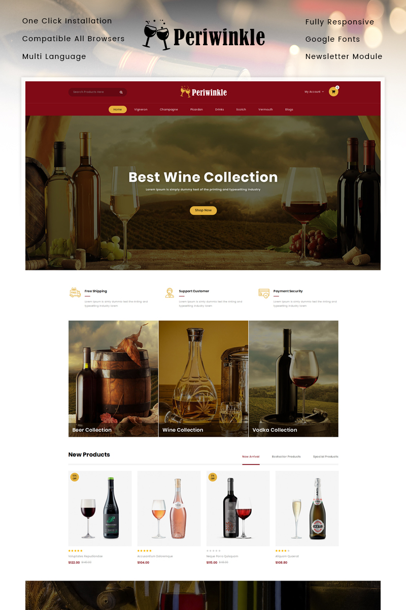 "Plantilla OpenCart ""PeriWinkle - Wine Store"" #90637"