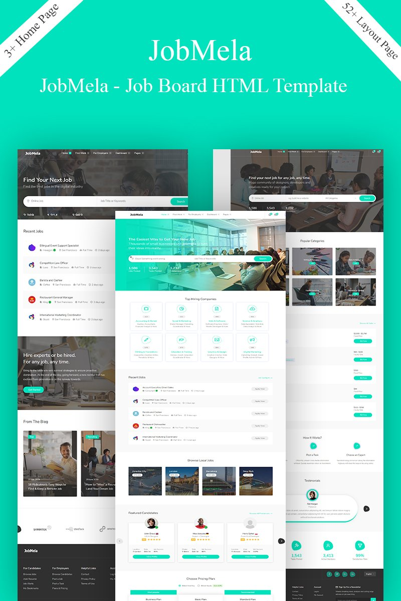 "Plantilla Web ""JobMela - Job Board & Dashboard  Bootstrap Template"" #90697"