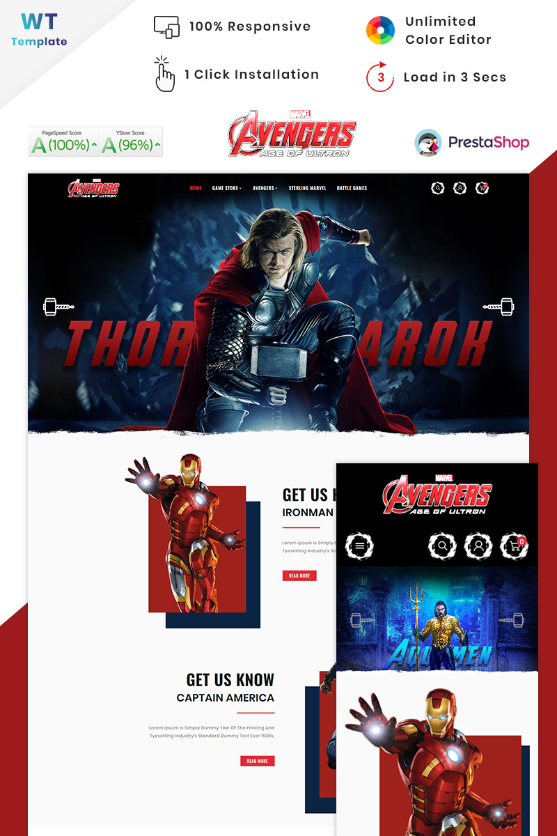 "PrestaShop Theme namens ""Game Avengers - Game Big Mall"" #90634"