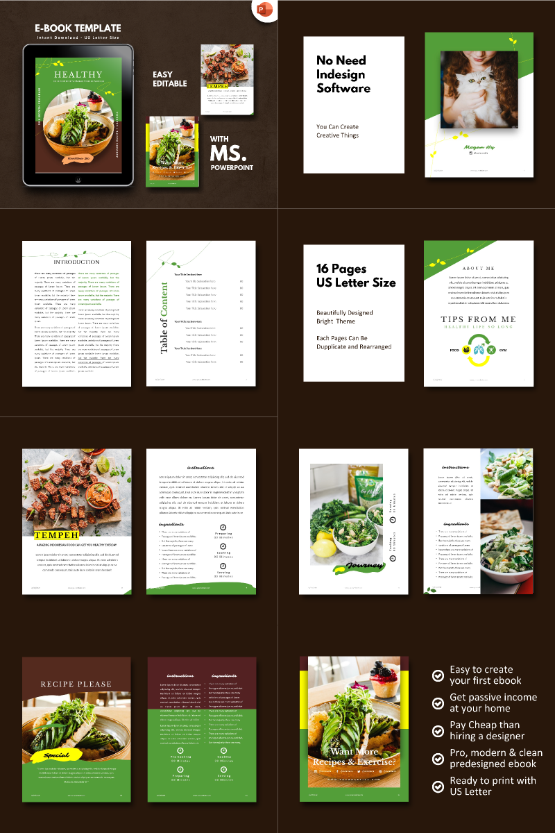 Recipe Food Vegetarian - PowerPoint Template