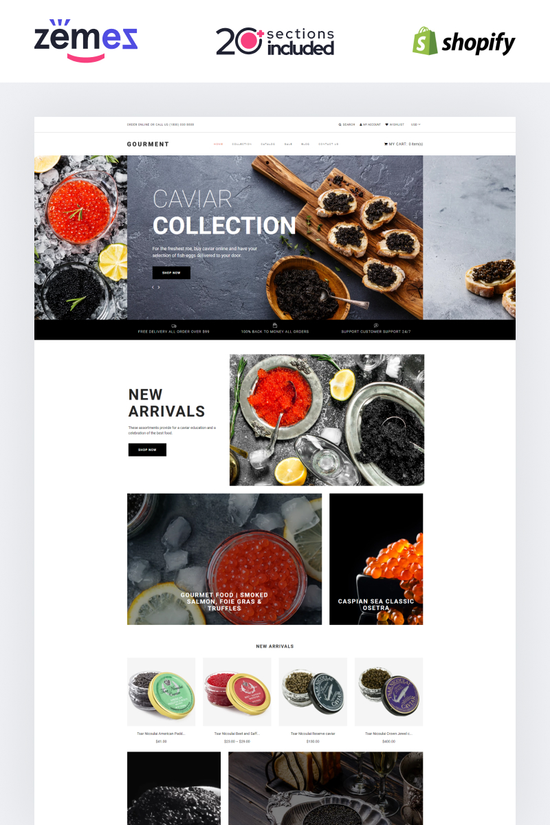 Responsive Caviar Store Template Shopify #90665