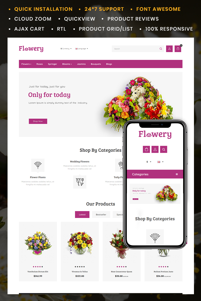 Responsive OpenCart Template over Flower Shop s №90667