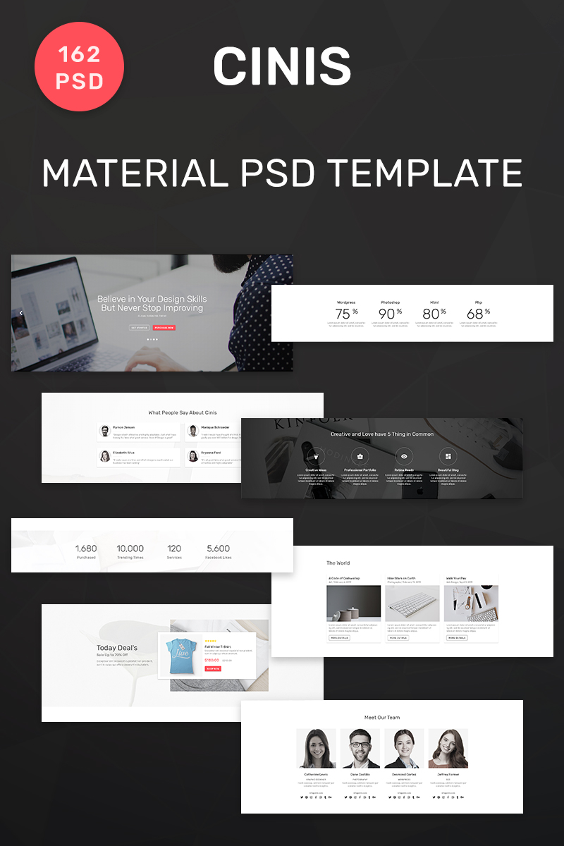 Responsywny szablon PSD Cinis - Multipurpose Material 162 #90639