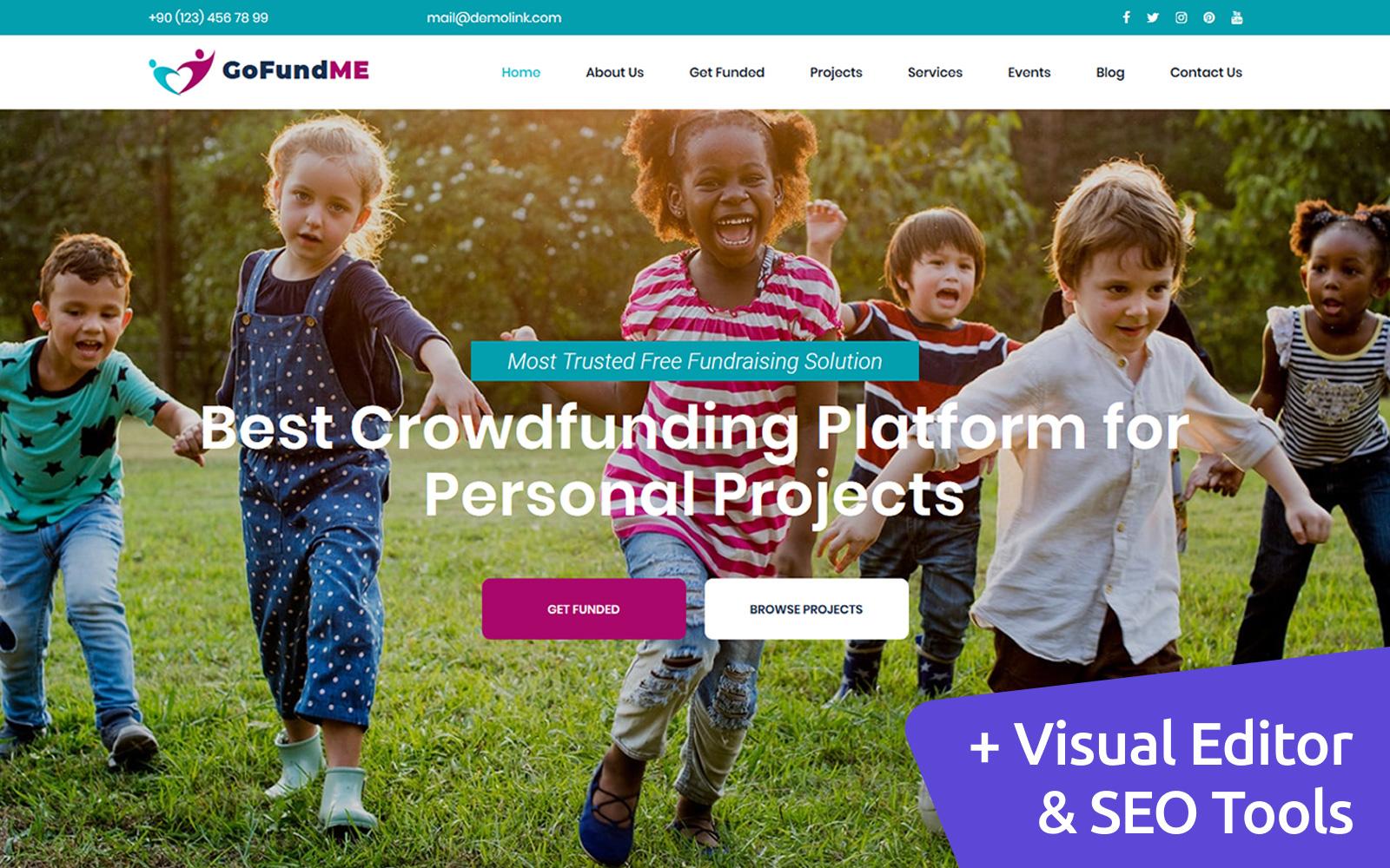 """Responzivní Moto CMS 3 šablona """"GoFundME - Crowdfunding"""" #90602"""