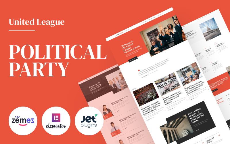 """Responzivní WordPress motiv """"United League - Solid And Reliable Political Campaign Template"""" #90640"""
