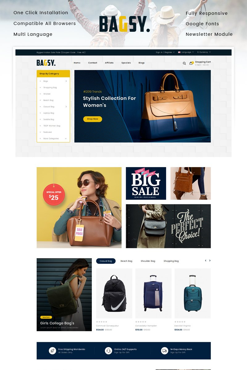 Reszponzív Bagsy - Bag Store OpenCart sablon 90671