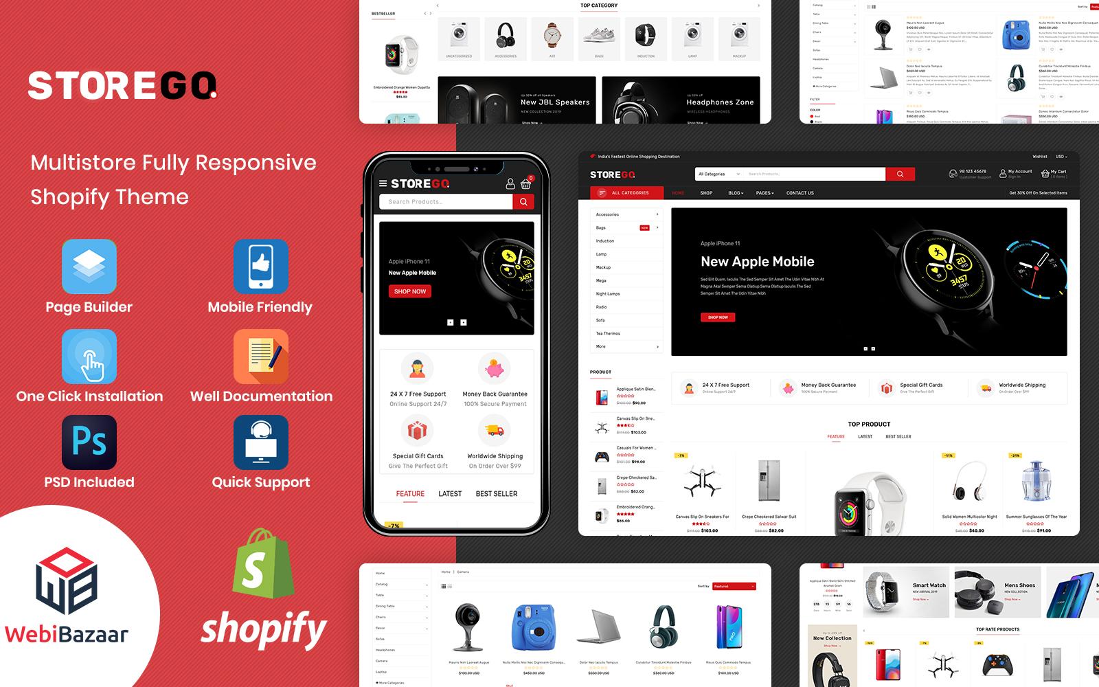 Reszponzív StoreGo - Multipurpose Premium Electronic Shopify sablon 90638