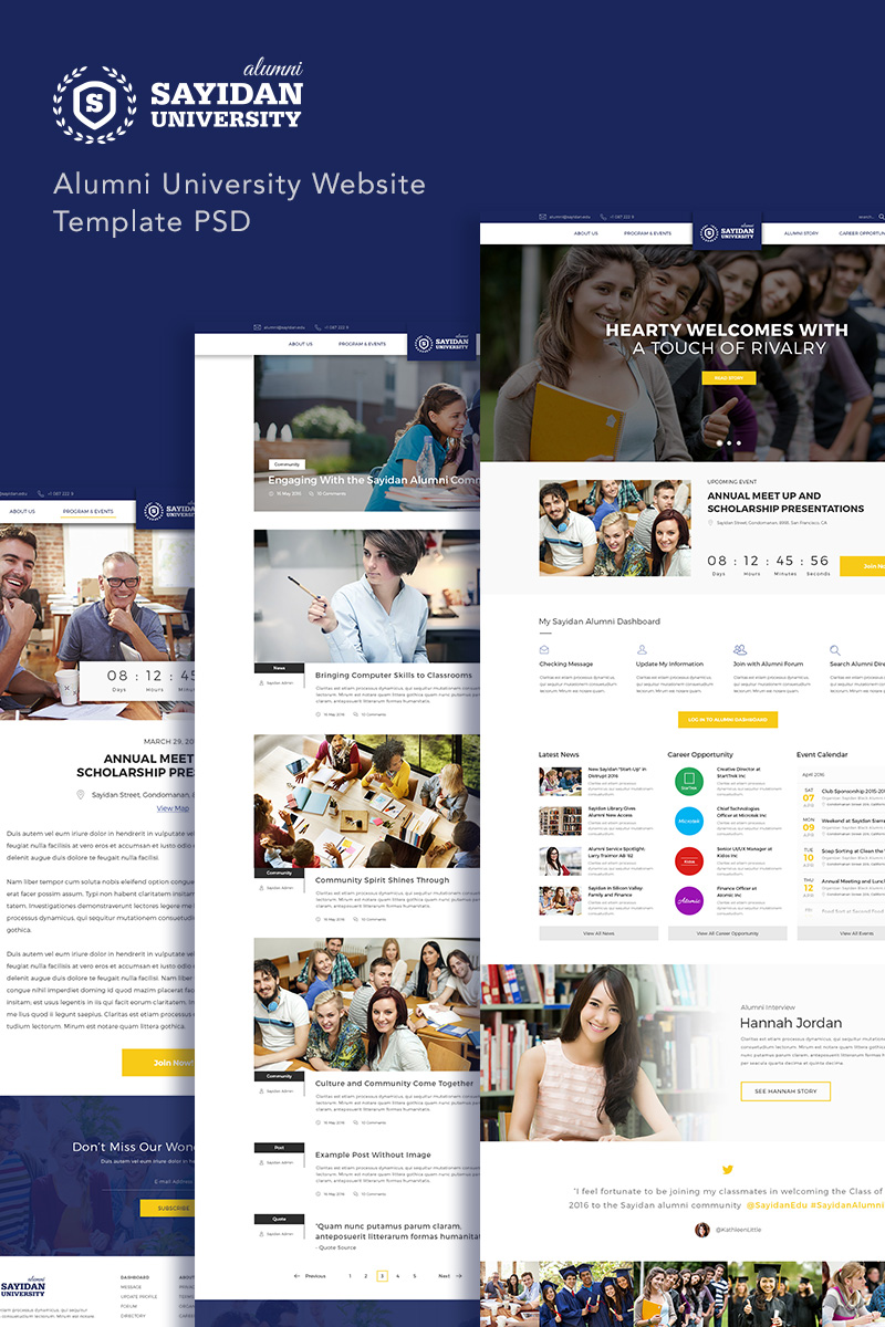 """Sayidan - University Alumni"" PSD Template №90651"