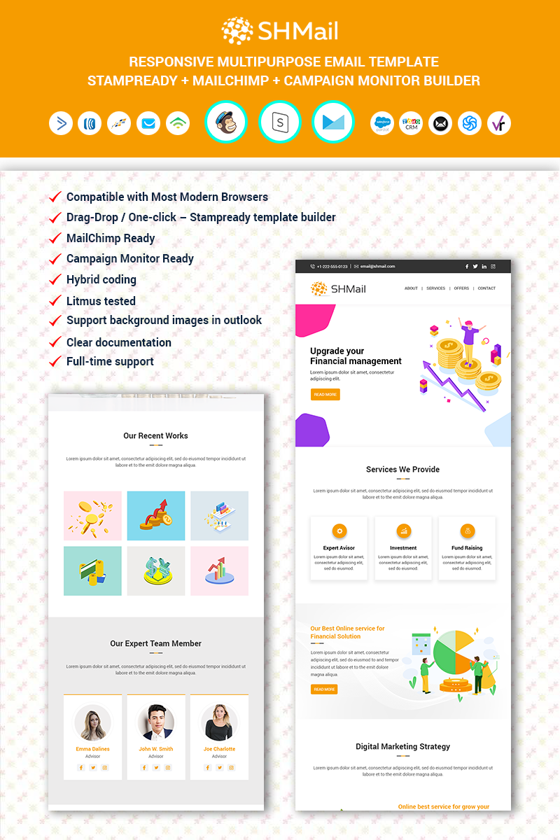 """""""SHMail - Multipurpose Responsive Email"""" 响应式邮件模板 #90695"""