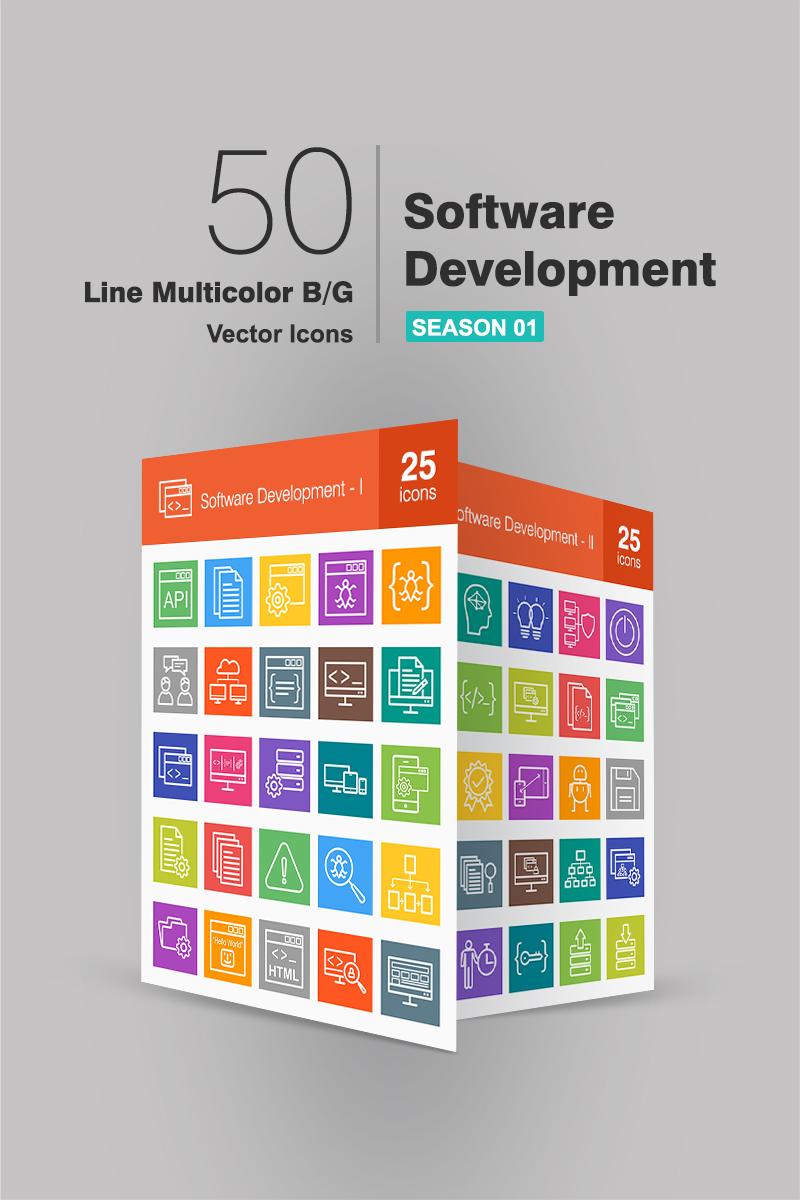 50 Software Development Line Multicolor B/G Conjunto de Ícones №90657