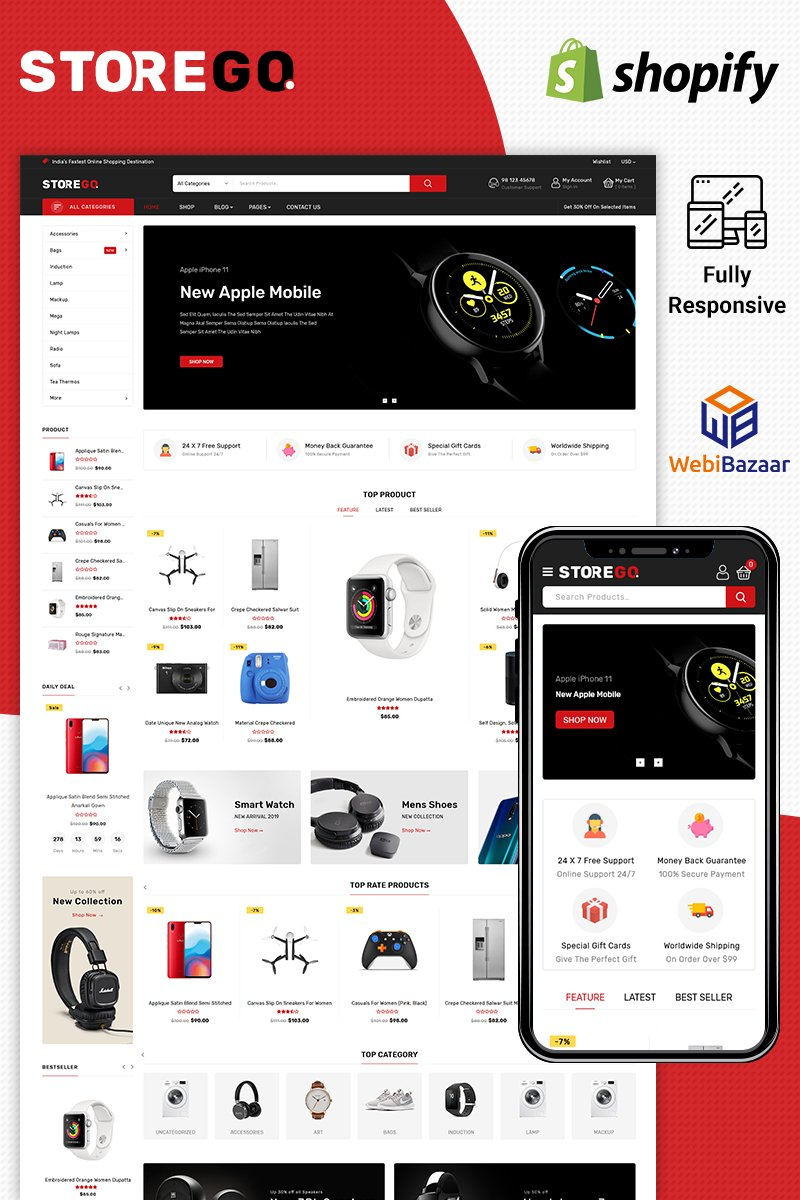 """StoreGo - Electronic"" - адаптивний Shopify шаблон №90638"