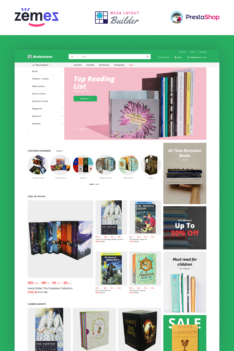 "Tema De PrestaShop ""Booksment - Online Bookstore Design"" #90626"