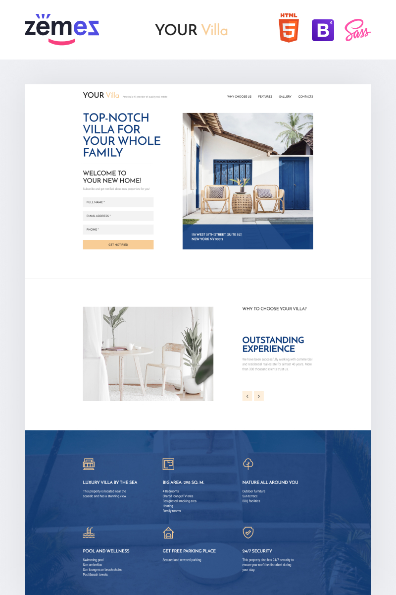 "Tema di Landing Page Responsive #90645 ""Lintense Real Estate - Single Property"""