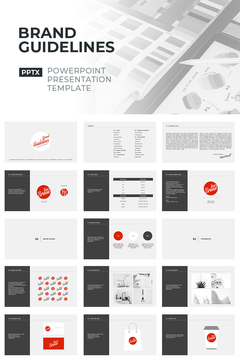 """Tema PowerPoint #90630 """"Brand Guidelines"""""""