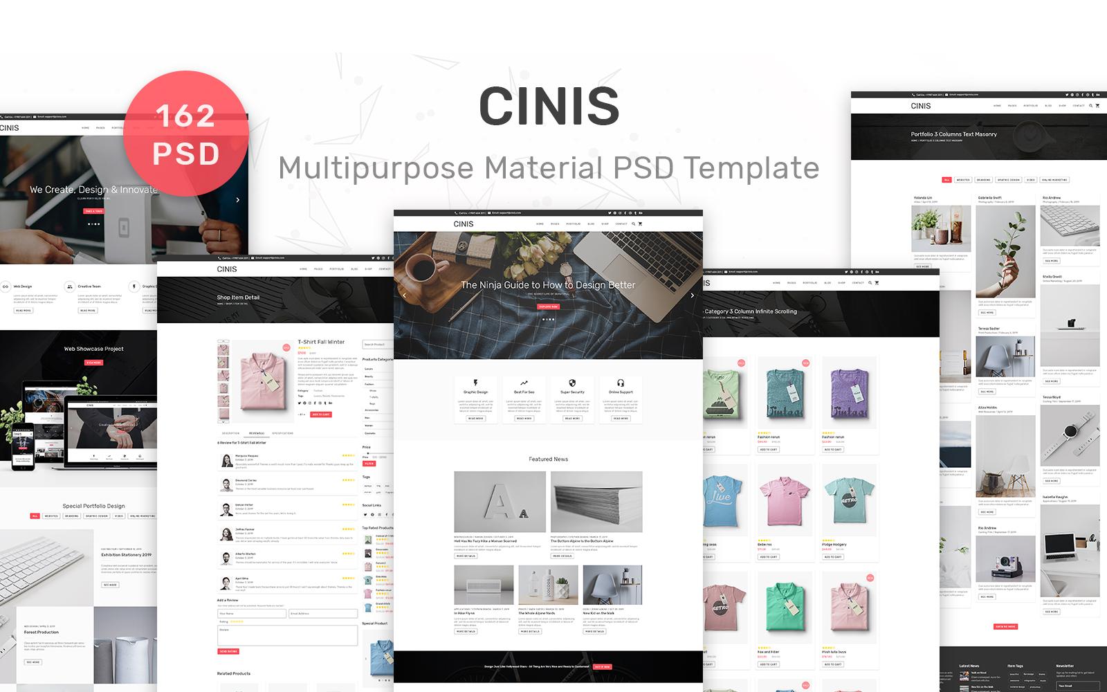 """Tema PSD Responsive #90639 """"Cinis - Multipurpose Material 162"""""""