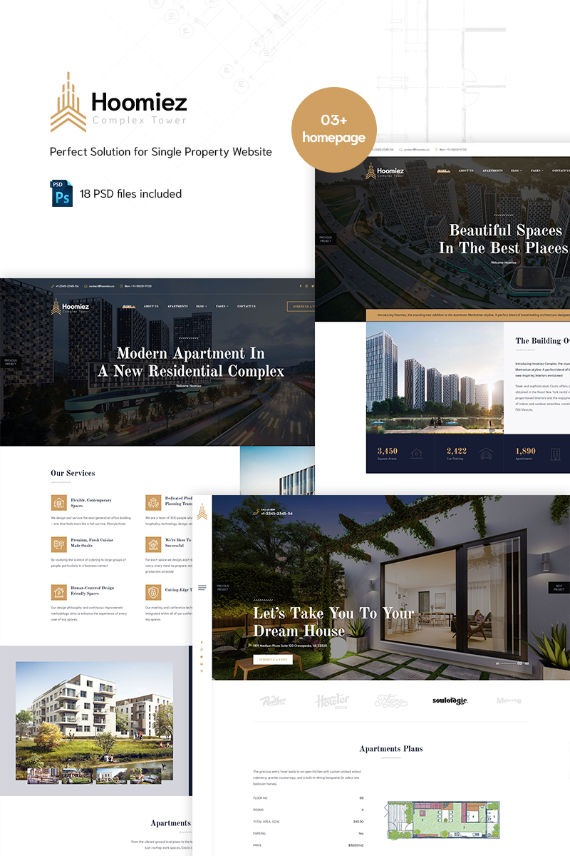 "Tema PSD Responsive #90666 ""Hoomiez - Single Property"""