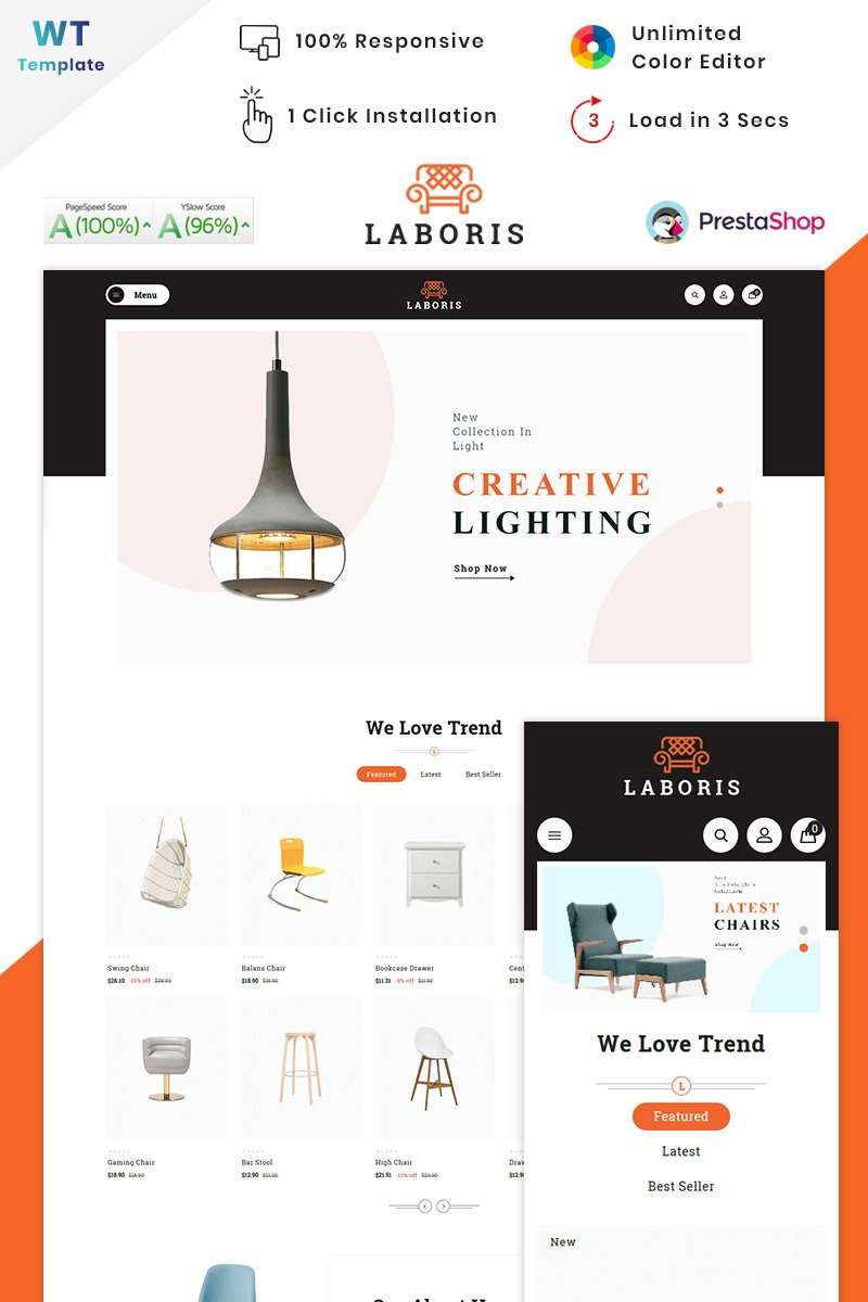 "Template PrestaShop Responsive #90616 ""Laboris - Modern Furniture Store"""