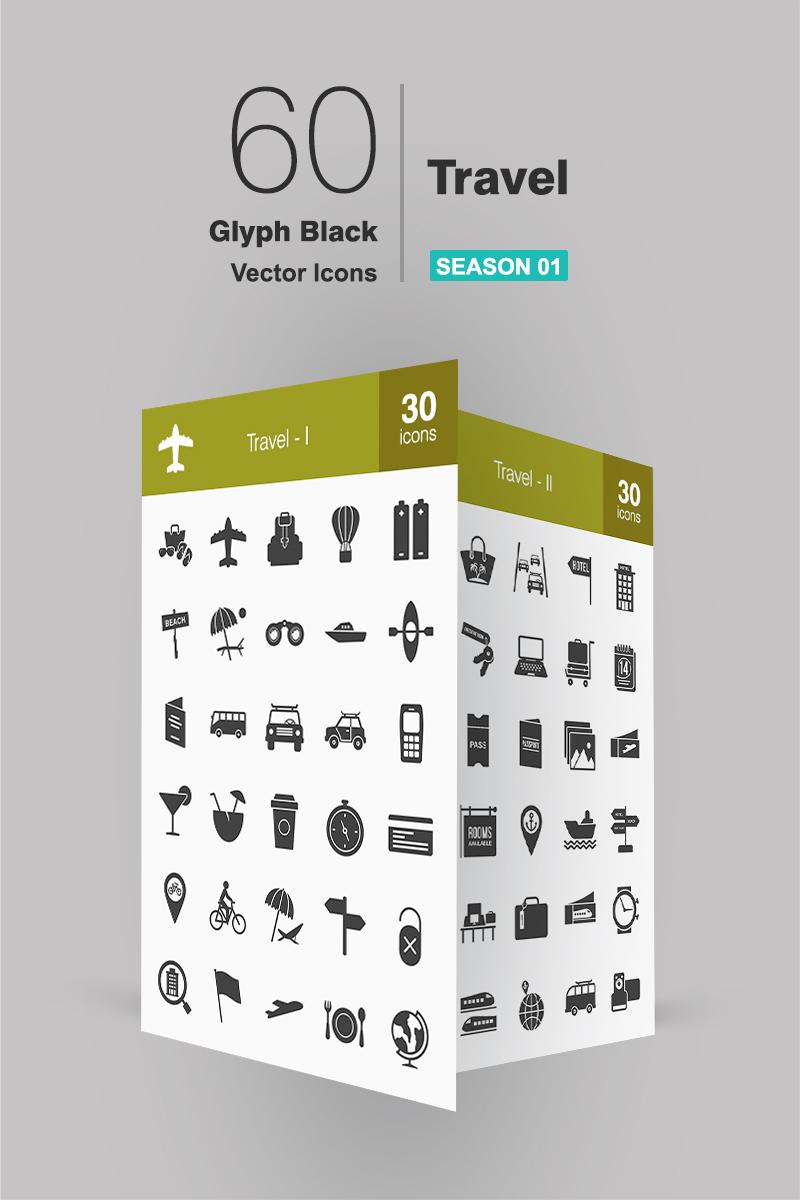 """60 Travel Glyph"" ensemble d'Icônes  #90658"