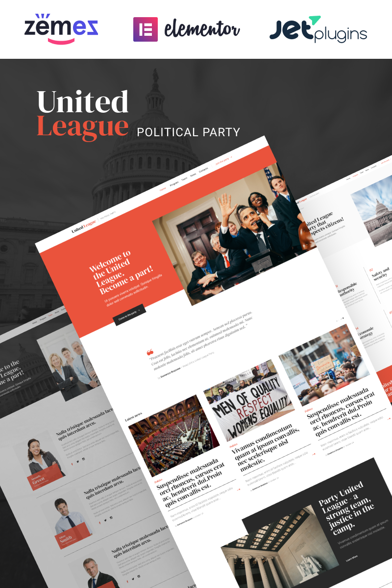 """United League - Solid And Reliable Political Campaign Template"" Responsive WordPress thema №90640"