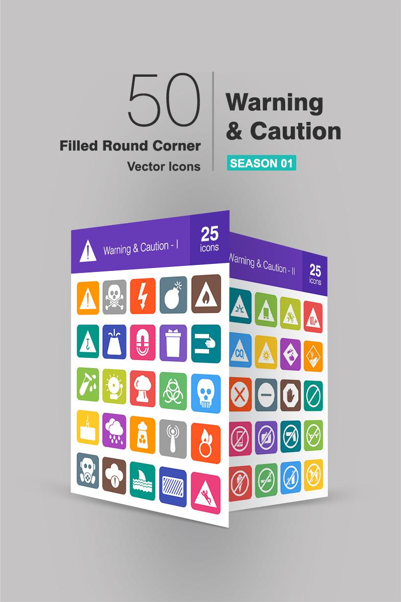 50 Warning & Caution Filled Round Corner Conjunto de Ícones №90660