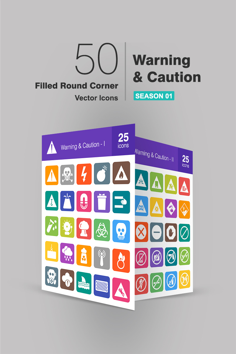 50 Warning & Caution Filled Round Corner №90660