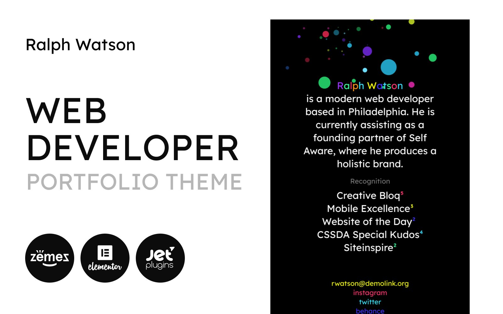 """Web Portfolio - Minimalistic Web Developer Portfolio Template"" thème WordPress adaptatif #90669"