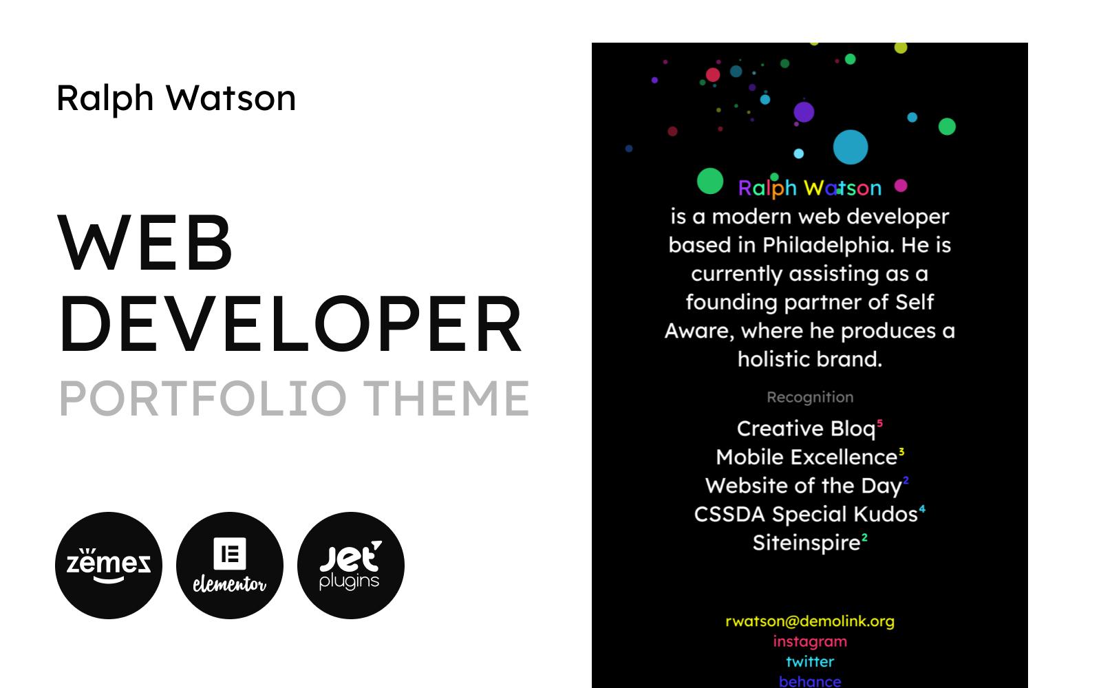 """Web Portfolio - Minimalistic Web Developer Portfolio Template"" 响应式WordPress模板 #90669"