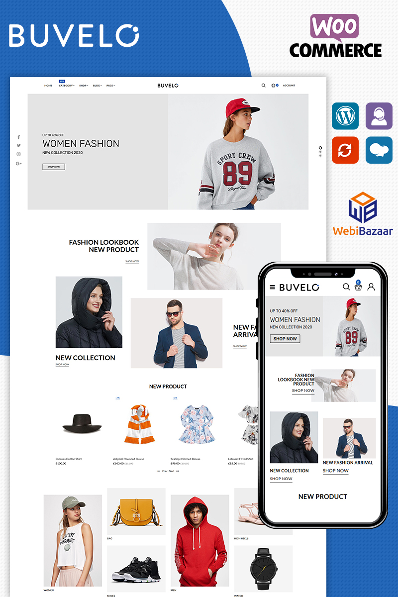 """WooCommerce Theme namens """"Buvelo The Best Fashion Store"""" #90604"""