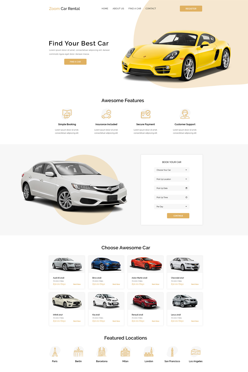 """Zoom - Car Rental"" - PSD шаблон №90649"