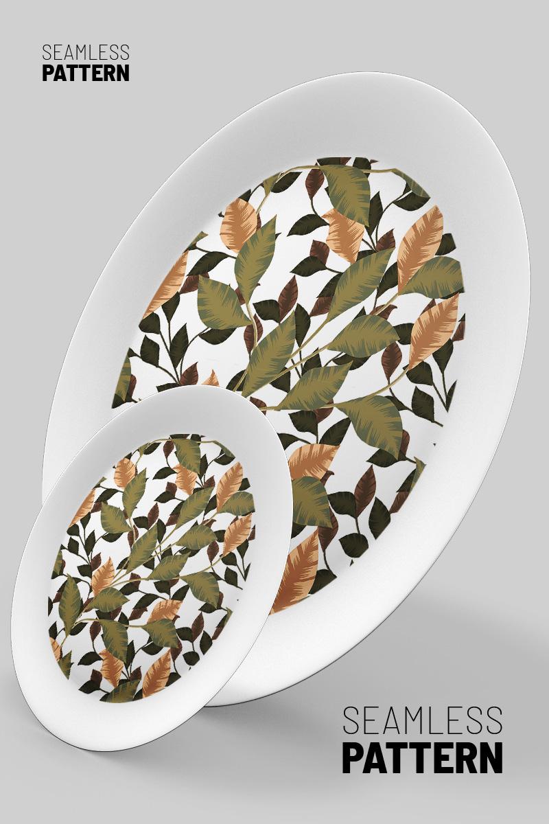 Beautiful green and dry foliage seamless design Pattern